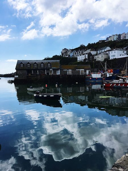 Cloud - Sky Reflection Still Water Shapes And Forms Waterfront EyeEm Selects My Point Of View Cornish Village Harbour Colour Of Life Showcase July Beautiful Cornwall EyeEm Best Shots Travel Destinations Lets Go. Together. Beauty In Nature