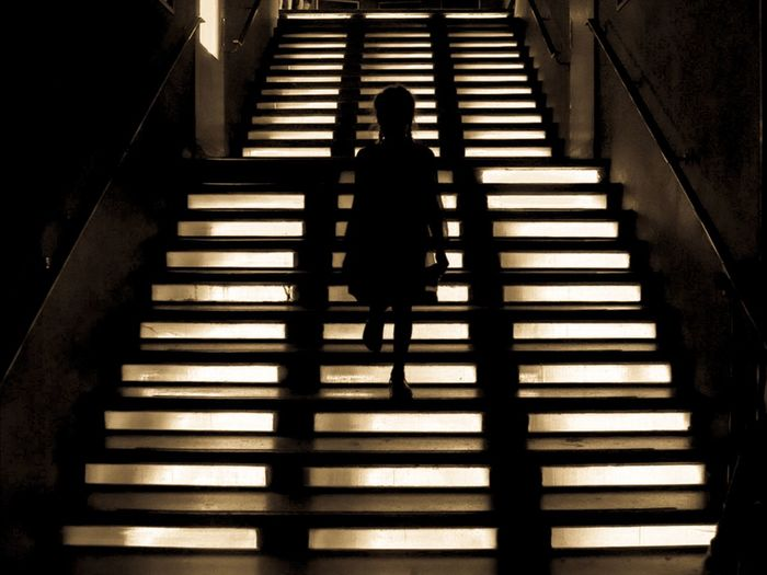 Rear view of person walking on staircase