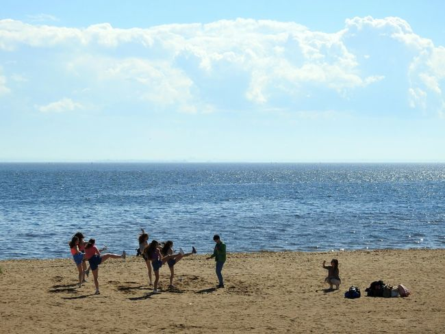 Girls Power Dancing Beachphotography Sunny Day 🌞 The Photojournalist - 2017 EyeEm Awards Summertime The Great Outdoors - 2017 EyeEm Awards Beach My City View The Gulf Of Finland Baltic Sea Colors Of Sankt-Peterburg Sankt-Petersburg Russia Place Of Heart Live For The Story