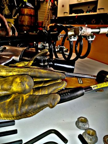 Popz Garage No People Indoors  Close-up Manufacturing Equipment Oil Pump Work Bench Garage Tools Of The Trade Tools Work Gloves