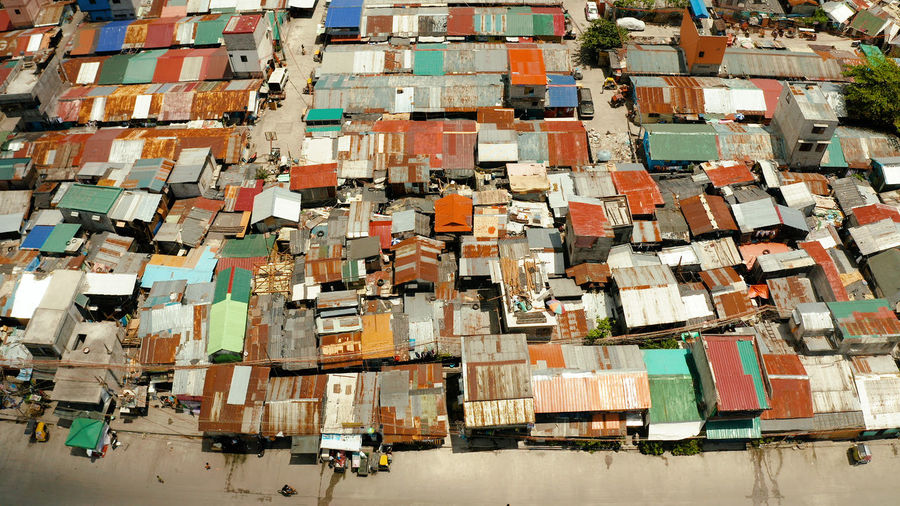 Aerial view of slums in city