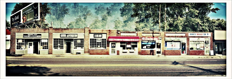 Any Business Street, USA Streetphotography Panorama