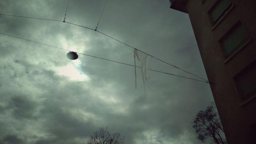 Hanging Cloth Sky Cloth Cloud - Sky Cloud Wire Streetphotography Street Streetlights Winter