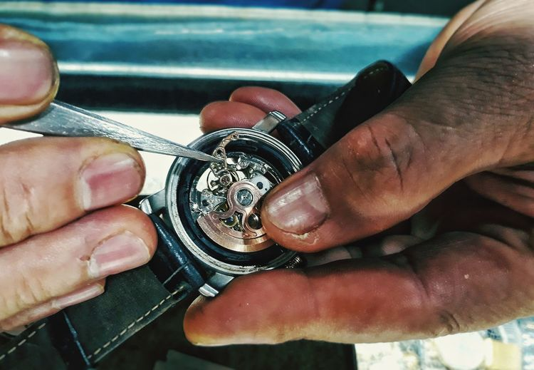 Impressions Of Joy Watch Lover Meticulous Work Doctor Of Time Machine Human Hand Close-up
