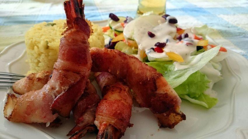 Boston Prawns & Salad Enjoying A Meal