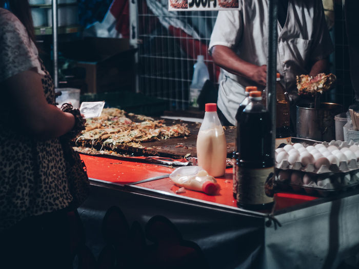 Food stall at summer festival matsuri at night in japan / small business