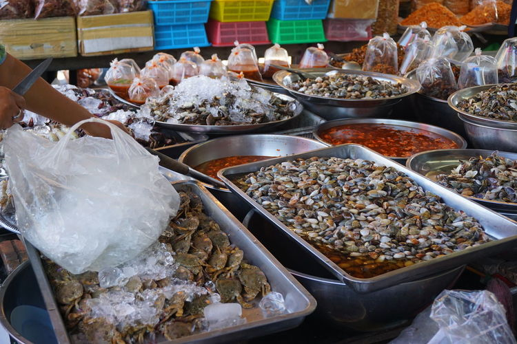 Close-up of food for sale at market stall