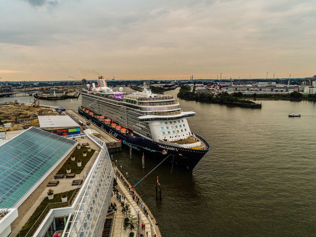 Drone  Hafencity Hafencity Hamburg Mein Schiff 3 Tui Architecture Building Exterior Built Structure City Cityscape Cloud - Sky Day Dronephotography Droneshot High Angle View Nature Nautical Vessel No People Outdoors Sea Ship Sky Transportation Tui Cruises Water