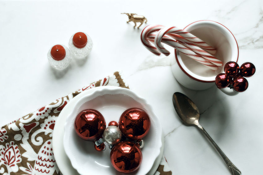 Christmas table Background Celebration Christmas Festive Food And Drink High Angle View Holidays Indoors  Meal Time Mock Up No People Ornaments Over Head Shot Overlay Red Red Styled Sweet Food Table Template