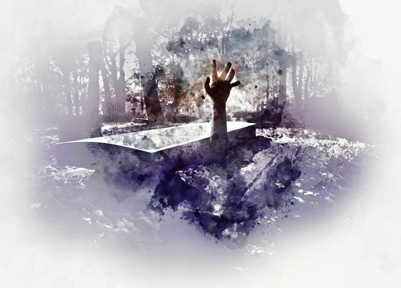 Digital watercolor painting of a hand rising out from the grave Altered Blurry Cemetery Coffin Corpse Dark Death Digital Art Digital Watercolor Digitally Generated Effect Forest Grave Graveyard Halloween Hand Headstone Horror Illustration Night Nightmare Rising Tombstone Watercolor Zombie