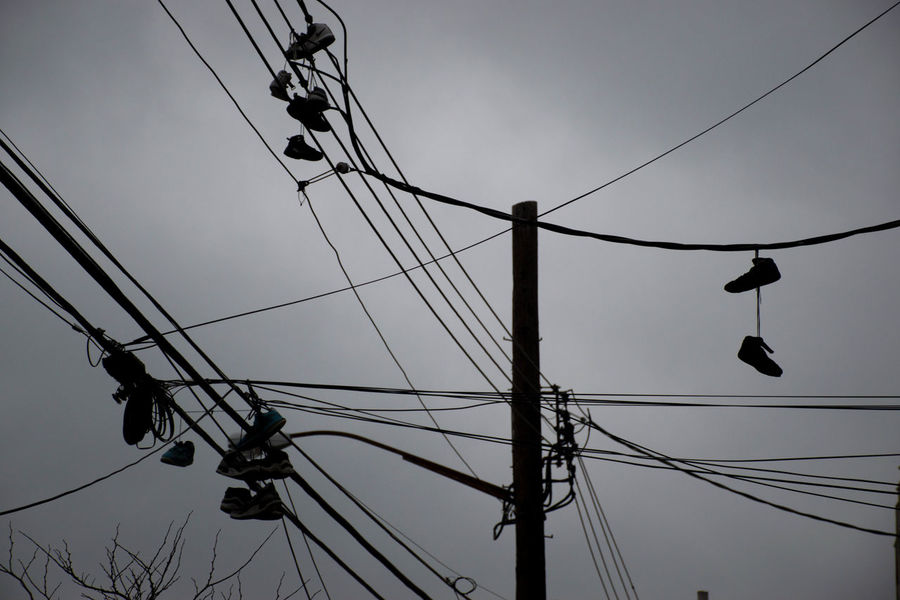 Cable Culture Electricity  Electricity Pylon Hanging Outdoors Pole Power Cable Power Supply Rope Shoe Shoes Sky Street Light Technology