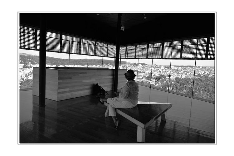 View From Observation Deck 1 DeYoung Museum Observation Tower 8th Floor Golden Gate Park San Francisco CA🇺🇸 Cityscape Parkview Vista Bnw_friday_eyeemchallenge Scenic Lookout Bnw_thepeoplearoundus Woman Enjoys View Monochrome_Photography Monochrome Black & White Black & White Photography Black And White Collection  Black And White Wood Floors Large Plate Glass Windows Bench Silhouettes Reflection Rear View