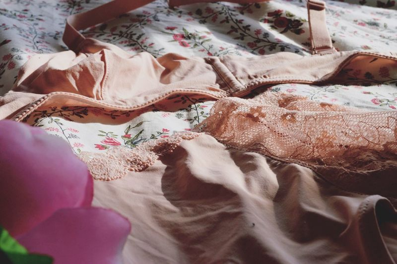 Close-Up Of Bra And Pants On Table