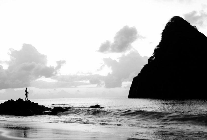 Fernando de Noronha 💛 Sea Beach Fisherman Outdoors Nature Black & White Brazil