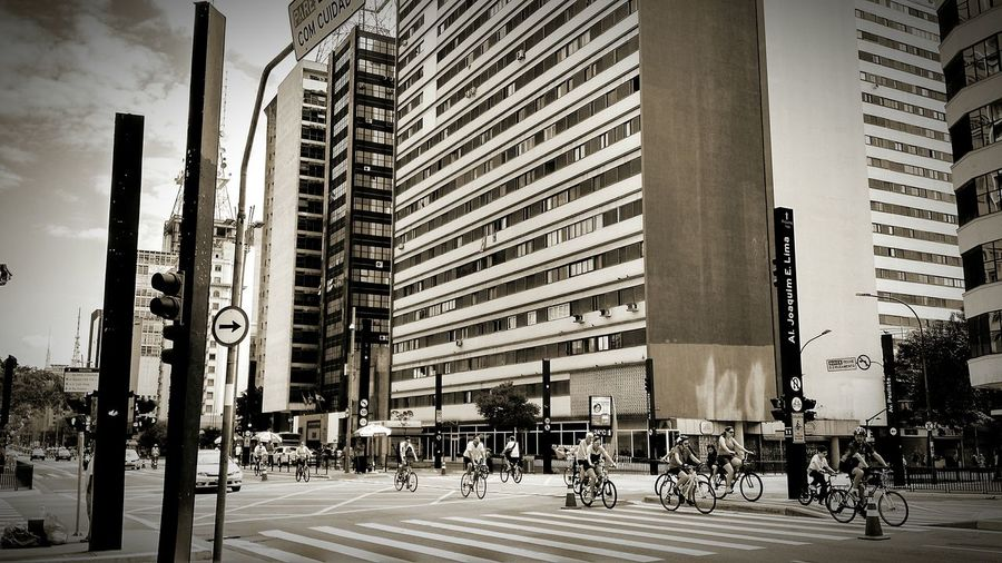 City Outdoors Skyscraper Architecture People Bikers Biketour Peopleridingbikes Moto X G2 Paulista Avenue EyeEm Best Shots Monochrome Photography Black & White Smartphonephotography Streetphotography City Life Landscape Landscape_Collection