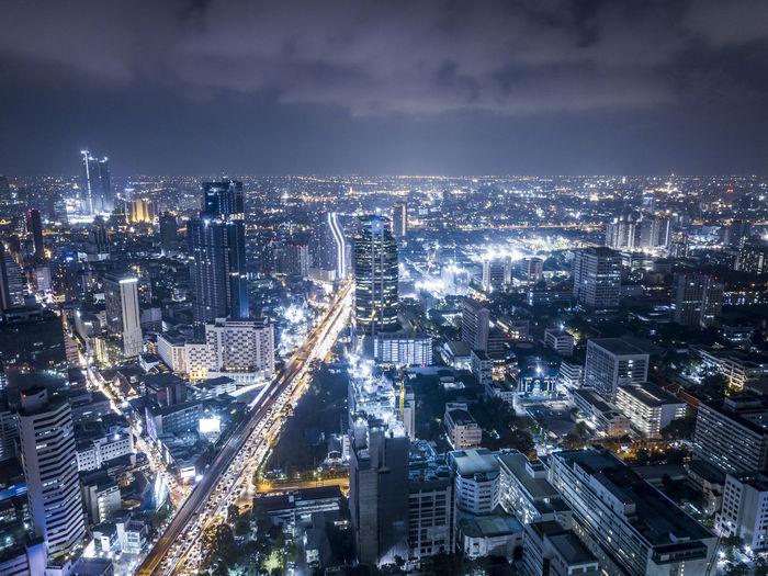 Drone aerial photograph of bangkok, capital city of thailand.