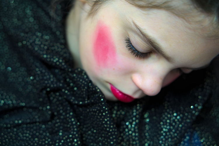 Close-up of girl with make-up