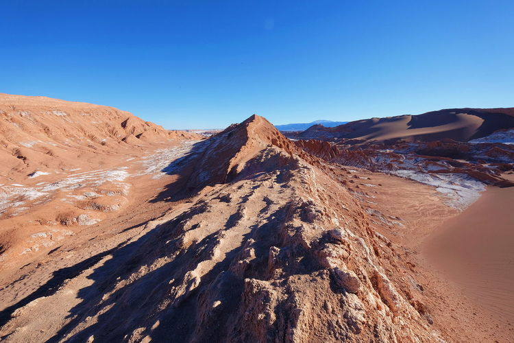 Valley of the Moon Sand Sky Landscape Sand Dune No People Empty Places Clear Sky Outdoors Desert Nature Mountain Rock at San Pedro De Atacama , Chile