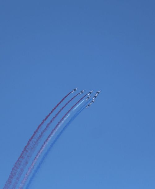 Flying Air Vehicle Airplane Blue Sky Airshow