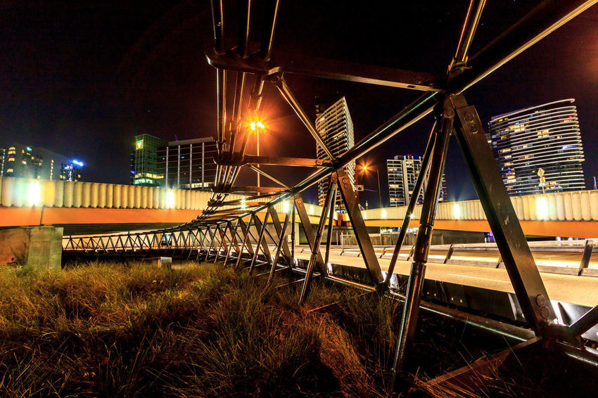 An open cycling path Architecture Bridge - Man Made Structure Building Exterior Built Structure City Grass Illuminated Night No People Outdoors Sky