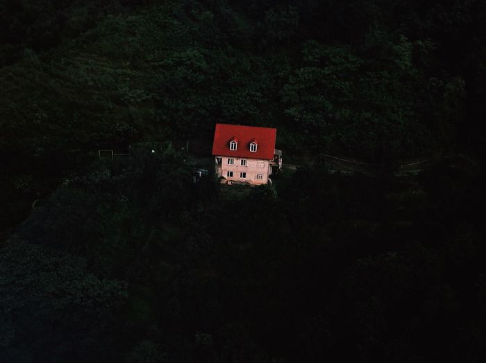 Architecture Built Structure Building Exterior Night No People Tree Nature Red Building Outdoors Copy Space Low Angle View Dark Residential District Beauty In Nature Tranquility Growth Plant Window