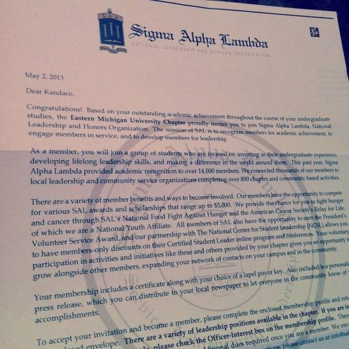 Came home to this in my mailbox.... Feels good! SigmaAlphaLambda Sal Smart ? Achievement Academics Hardwork