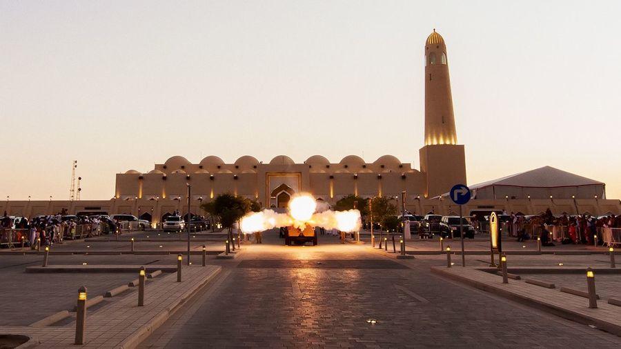 Ramadan canon Ramadan  Ramadan Canon Canon Mosque Doha,Qatar Qatar Fire Flame Smoke Explosion