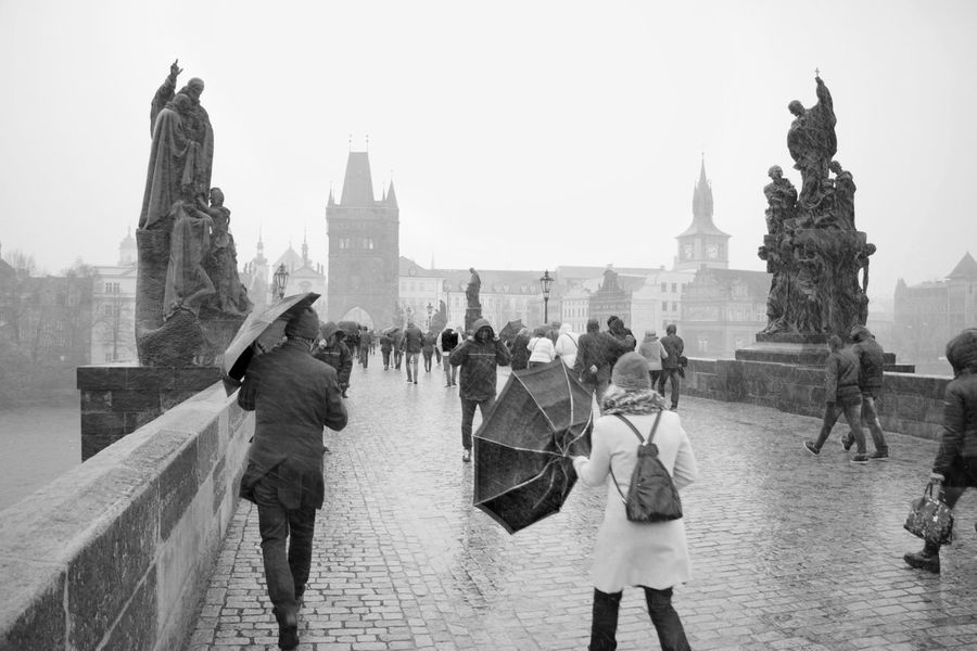 People walking in storm on Charles Bridge, Prague Architecture Charles Bridge Czech Czech Republic Karlův Most Old Town Bridge Tower Prague Prague Czech Republic Rain Statue Storm Black And White Blackandwhite Blizzard Bridge Famous Place International Landmark Karluvmost Outdoors People River Tourism Tower Travel Destinations Umbrella