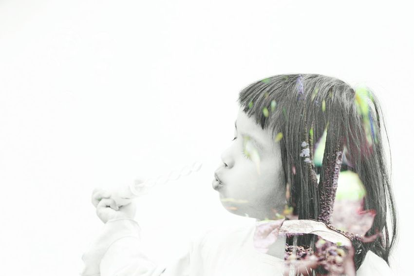 Double Exposure One Person Snapseed White Background Beauty Cute Kids Be. Ready.