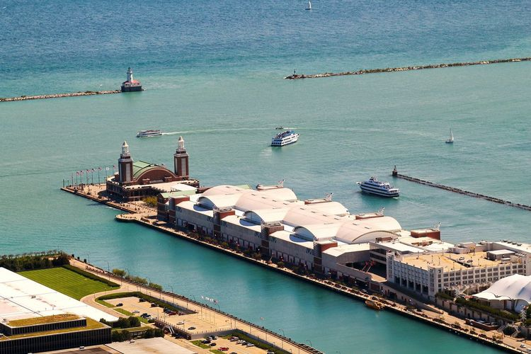 High angle view of navy pier