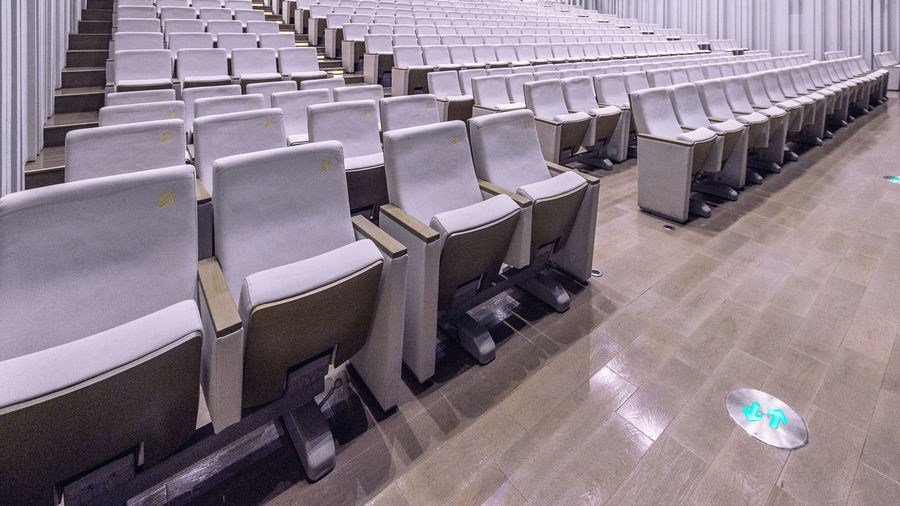 armchairs, Cinema seat. Auditorium Chair Day Empty In A Row Indoors  Large Group Of Objects Lecture Hall No People Seat Seminar