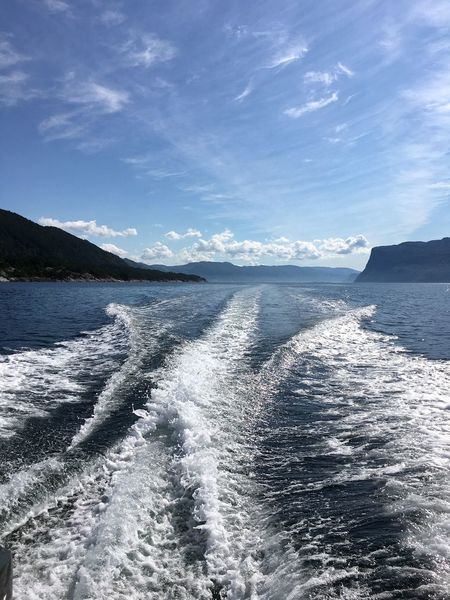 Norway Blue Boatride Fjord Motion No People Sea Sky Wake Wake - Water Water Wave