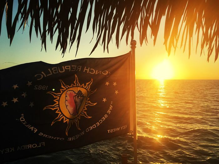 Conch Republic Tiki Sunset Sail Ocean Beautiful Day Sunset Conch Republic Key West Water No People Outdoors Beauty In Nature Nautical Vessel
