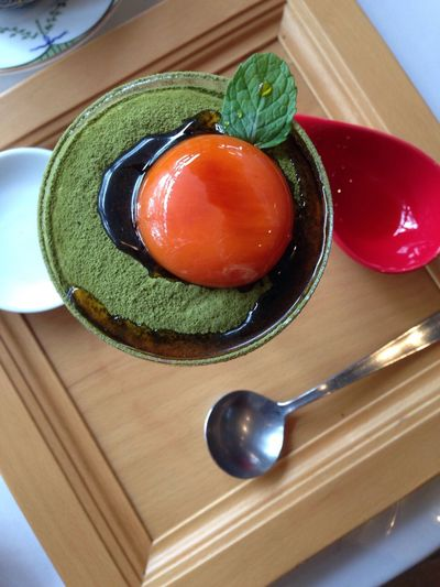 Food High Angle View Freshness Indoors  Food And Drink Ready-to-eat Close-up No People Table Plate Serving Size Temptation Healthy Eating Egg Yolk Pudding Matcha Yamate Yokohama Sweets Japan