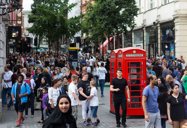 busy covent garden Covent Garden  London Red Phone Boxes City Day Large Group Of People Outdoors People Real People Street Walking