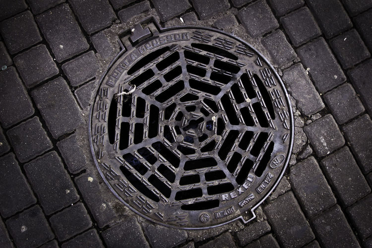 Close-up Day High Angle View Manhole  Metal Grate No People Outdoors Pattern Sewage Sewer Streetphotography