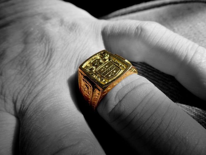 Goldfinger. Fiftyshadesofgold Precious Black And White Body Part Close-up Colorsplash Finger Gold Gold Colored Goldfinger Hand Holding Human Body Part Human Finger Human Hand Indoors  Jewelry Luxury One Person Personal Perspective Real People Ring Unrecognizable Person Wealth