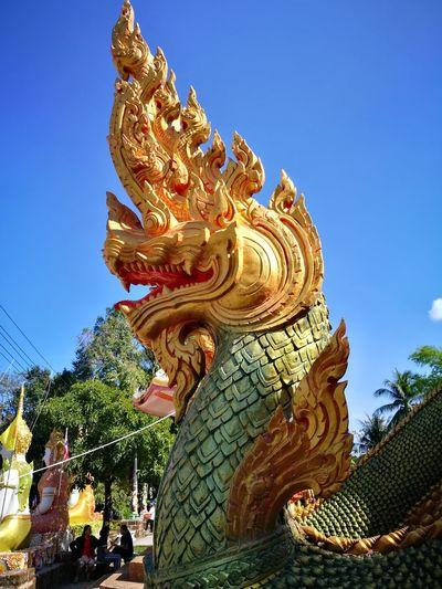 Naga Statue Religion Sky Sculpture Spirituality Low Angle View Day