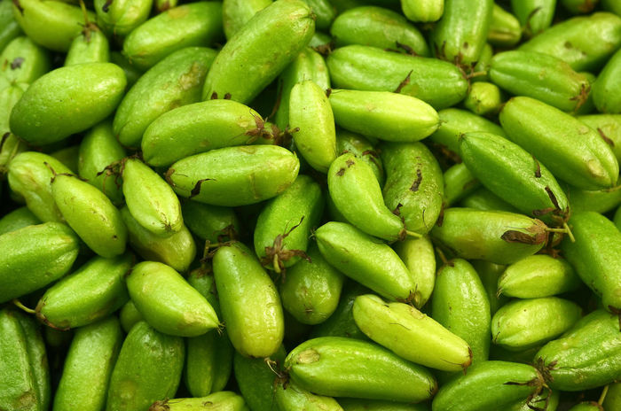 belimbing buluh or averrhoa bilimbi on black background Fruits Close Up Green Colors Ingredients Kitchen Vegetable Sour Bilimbi Backgrounds Full Frame Market Business Finance And Industry Close-up Green Color Food And Drink