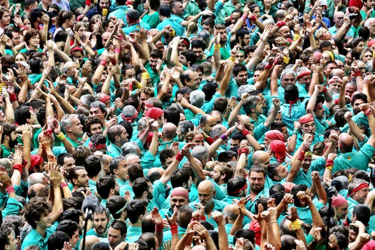 Human Towers Castellers Crowd Group Of People Large Group Of People Real People Full Frame Men Day