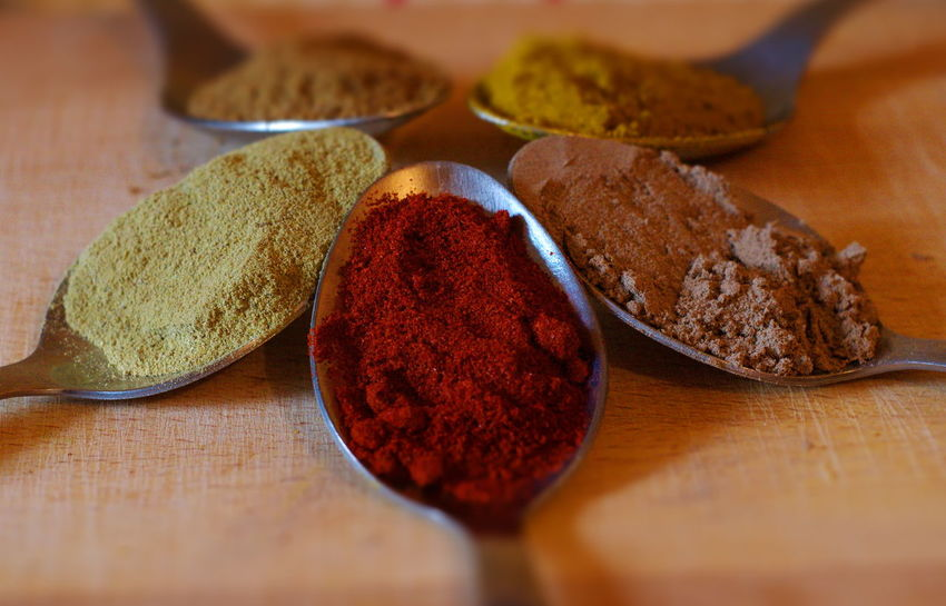 Close-up Colors Condiments  Food No People Selective Focus Spoons Still Life Paprika Curry Coriander Cumin