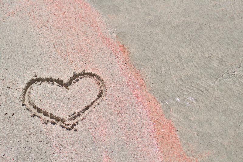 High angle view of heart shape on sand