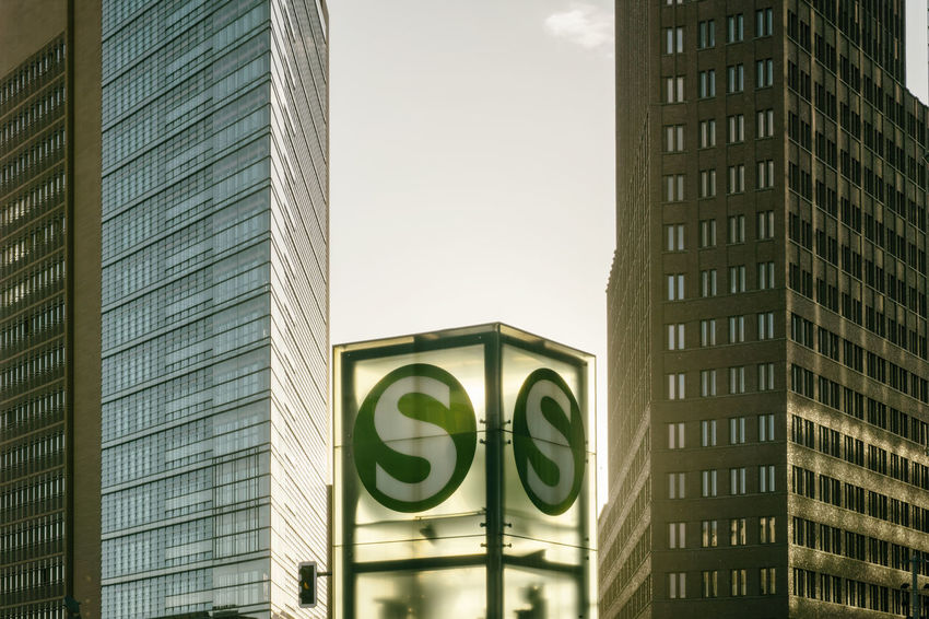 Berlin Germany 🇩🇪 Deutschland Horizontal S-Bahn Sign Afternoon Sun Architecture Building Exterior Buildings Built Structure City Close-up Communication Day Green Color Low Angle View No People Outdoors Potsdamer Platz Sun Transparent
