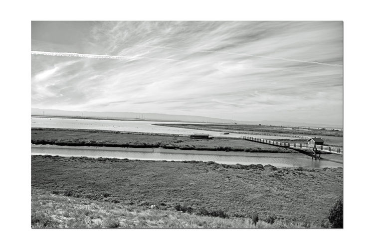 Newark Slough 5 Fremont,Ca. Tidal Wetlands Marsh Restored Marshlands Wildlife Refuge Nature Beauty In Nature Nature_collection Picnic Hut Bridge Boardwalk Overpass Creek Duck Hunters Cabin Jet Trails San Mateo Bridge Marin Headlands Monochrome_Photography Monochrome Black & White Black & White Photography Black And White Black And White Collection  Landscape_Collection Landscape_photography