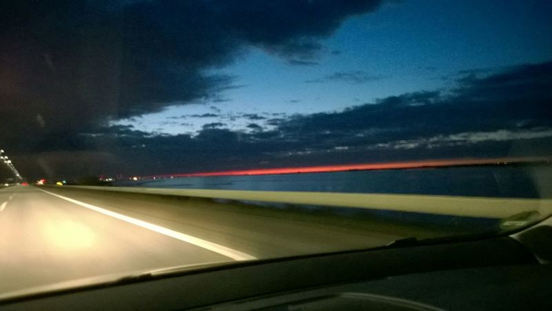 Sunset Traveling On The Road Baltic Sea