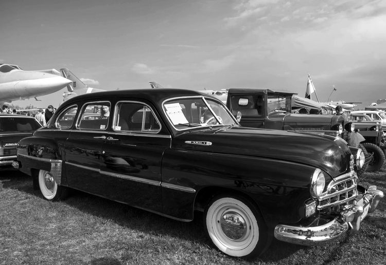 Old Car Fest. GAZ-12 ZIM Antique Blackandwhite Car Classic Cloud - Sky Day Farsta GAZ-12 Kiev Land Vehicle Mode Of Transport Monochrome Obsolete Old Old-fashioned Parked Retro Sky Stationary The Past Transportation Travel Ukraine Vintage Zim
