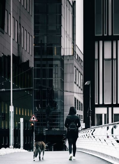 Rear view of man walking against building in city