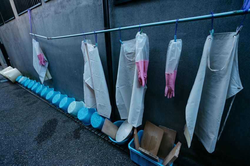 Butcher Clothes Clothing Coathanger Hanging Hygiene Japan Laundry Metzger No People Platic Worker