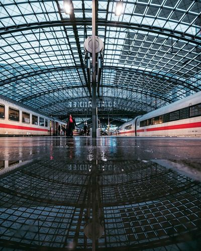 Berlin Reflections Berlin_reflections Reflections Reflection Train - Vehicle Transportation Railroad Station Platform Public Transportation Railroad Station Rail Transportation Real People Architecture Subway Train One Person People
