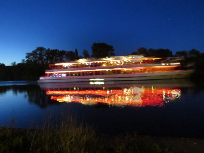 Blue Clear Sky Cruise Ship Evening Atmosphere Illuminated Journey Main Multi Colored Night Night Lights Nightphotography No People Offenbach Am Main Party Ship Reflection Relaxing Moments River Scenics Standing Water Tourism Water Water Reflections Water Surface